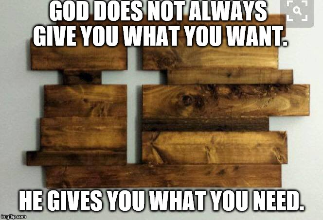 Faith in God | GOD DOES NOT ALWAYS GIVE YOU WHAT YOU WANT. HE GIVES YOU WHAT YOU NEED. | image tagged in memes | made w/ Imgflip meme maker