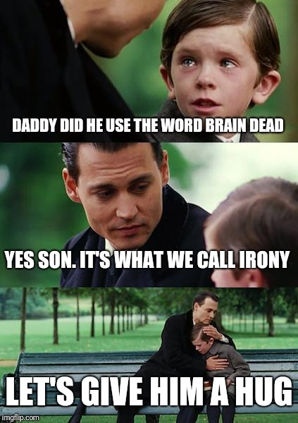 Finding Neverland Meme | DADDY DID HE USE THE WORD BRAIN DEAD YES SON. IT'S WHAT WE CALL IRONY LET'S GIVE HIM A HUG | image tagged in memes,finding neverland | made w/ Imgflip meme maker