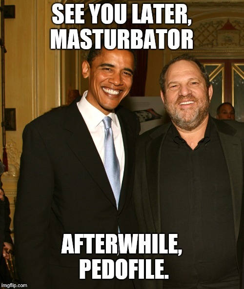 Harvey Weinstein and Obama | SEE YOU LATER, MASTURBATOR AFTERWHILE, PEDOFILE. | image tagged in harvey weinstein and obama | made w/ Imgflip meme maker