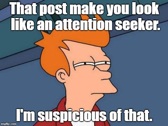 Futurama Fry Meme | That post make you look like an attention seeker. I'm suspicious of that. | image tagged in memes,futurama fry | made w/ Imgflip meme maker