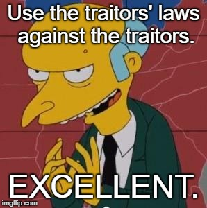 Justice is coming. | Use the traitors' laws against the traitors. EXCELLENT. | image tagged in mr burns excellent,patriot act,enemy combatant,enhanced interrogation,memes,qanon | made w/ Imgflip meme maker