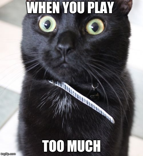 Woah Kitty | WHEN YOU PLAY TOO MUCH | image tagged in memes,woah kitty | made w/ Imgflip meme maker