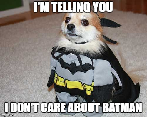 I'M TELLING YOU I DON'T CARE ABOUT BATMAN | made w/ Imgflip meme maker