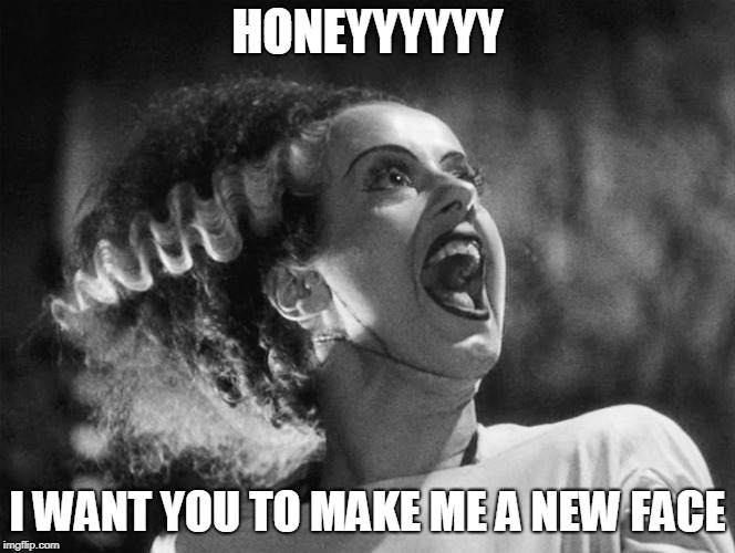 The Bride of Frankenstein | HONEYYYYYY I WANT YOU TO MAKE ME A NEW FACE | image tagged in the bride of frankenstein | made w/ Imgflip meme maker