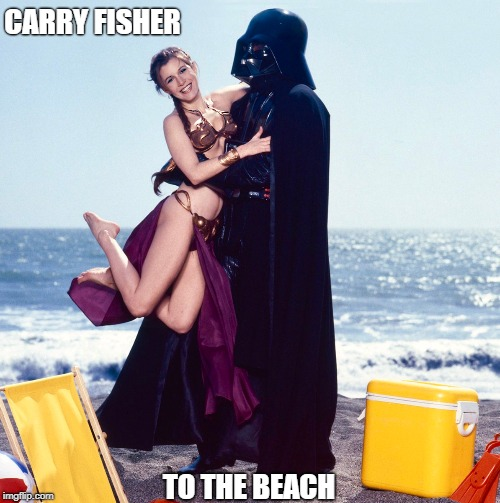 He Did It For the Empire | CARRY FISHER TO THE BEACH | image tagged in memes | made w/ Imgflip meme maker