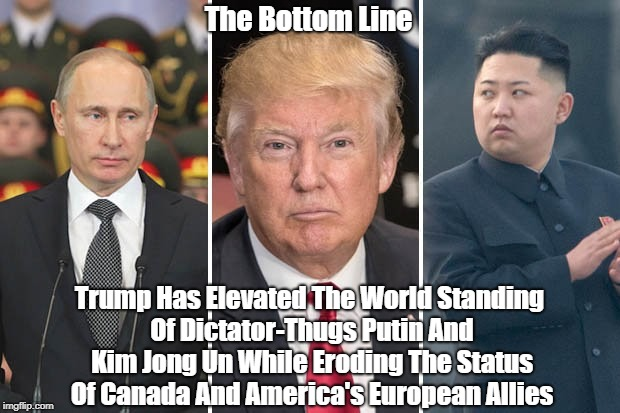 The Bottom Line Trump Has Elevated The World Standing Of Dictator-Thugs Putin And Kim Jong Un While Eroding The Status Of Canada And America | made w/ Imgflip meme maker