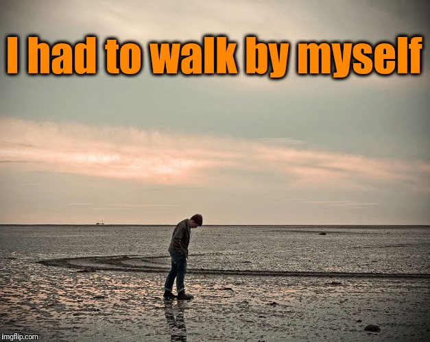 lonely | I had to walk by myself | image tagged in lonely | made w/ Imgflip meme maker