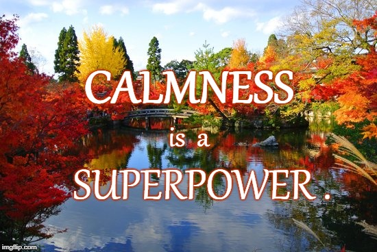 CALMNESS | CALMNESS SUPERPOWER . is  a | image tagged in calmness,superpower | made w/ Imgflip meme maker