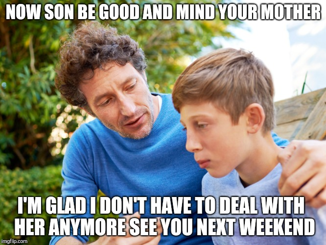 Divorced dad and son | NOW SON BE GOOD AND MIND YOUR MOTHER I'M GLAD I DON'T HAVE TO DEAL WITH  HER ANYMORE SEE YOU NEXT WEEKEND | image tagged in father and son | made w/ Imgflip meme maker