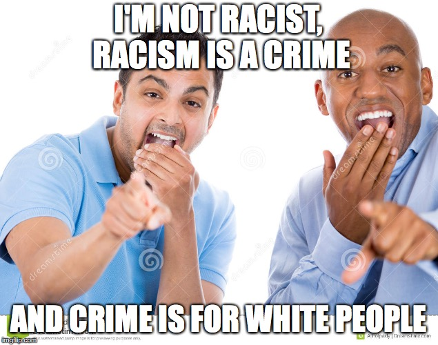 I'M NOT RACIST, RACISM IS A CRIME AND CRIME IS FOR WHITE PEOPLE | image tagged in black privilege meme 2034 | made w/ Imgflip meme maker