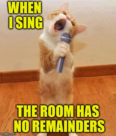 Happy birthday day  Maureeeennn from the singing cat!  | WHEN I SING THE ROOM HAS NO REMAINDERS | image tagged in happy birthday day  maureeeennn from the singing cat | made w/ Imgflip meme maker