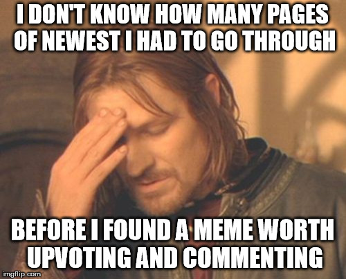 Frustrated Boromir Meme | I DON'T KNOW HOW MANY PAGES OF NEWEST I HAD TO GO THROUGH BEFORE I FOUND A MEME WORTH UPVOTING AND COMMENTING | image tagged in memes,frustrated boromir | made w/ Imgflip meme maker