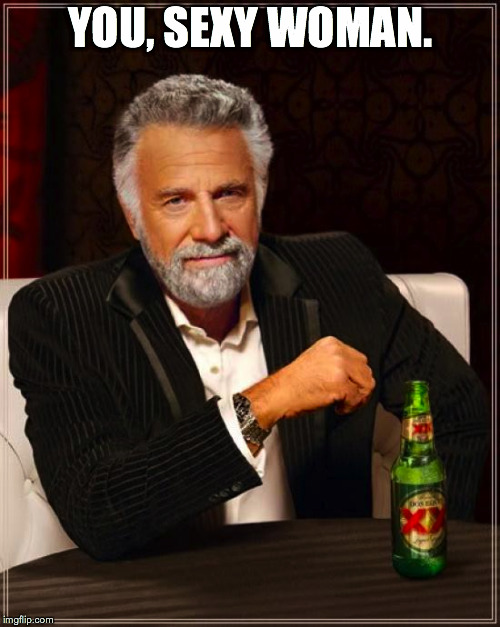 The Most Interesting Man In The World Meme | YOU, SEXY WOMAN. | image tagged in memes,the most interesting man in the world | made w/ Imgflip meme maker