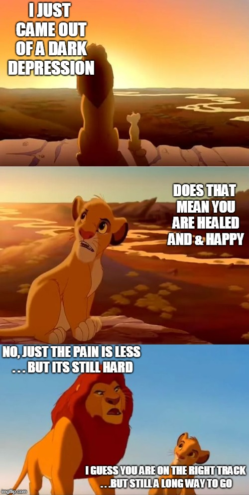 lion king shadowy place | I JUST CAME OUT OF A DARK DEPRESSION NO, JUST THE PAIN IS LESS . . . BUT ITS STILL HARD DOES THAT MEAN YOU ARE HEALED AND & HAPPY I GUESS YO | image tagged in lion king shadowy place | made w/ Imgflip meme maker