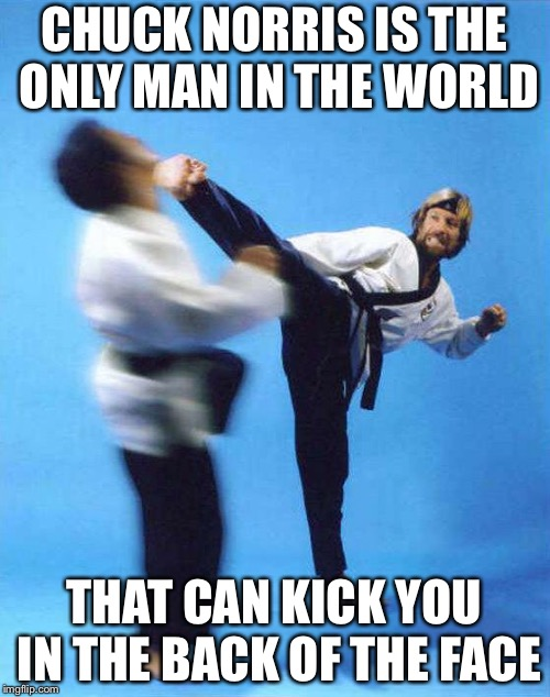 Roundhouse Kick Chuck Norris | CHUCK NORRIS IS THE ONLY MAN IN THE WORLD THAT CAN KICK YOU IN THE BACK OF THE FACE | image tagged in roundhouse kick chuck norris | made w/ Imgflip meme maker