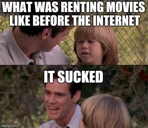 Thats Just Something X Say Meme | WHAT WAS RENTING MOVIES LIKE BEFORE THE INTERNET IT SUCKED | image tagged in memes,thats just something x say | made w/ Imgflip meme maker