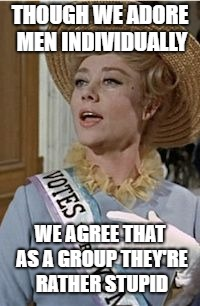 THOUGH WE ADORE MEN INDIVIDUALLY WE AGREE THAT AS A GROUP THEY'RE RATHER STUPID | image tagged in mom suffragette | made w/ Imgflip meme maker