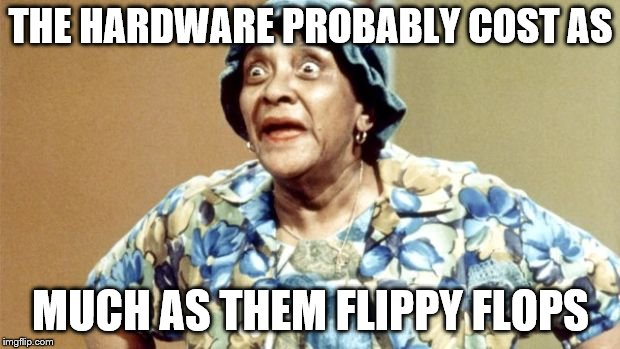 Salty Old Lady | THE HARDWARE PROBABLY COST AS MUCH AS THEM FLIPPY FLOPS | image tagged in salty old lady | made w/ Imgflip meme maker
