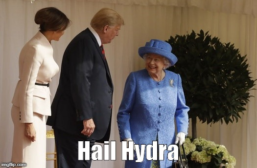 the meeting | Hail Hydra | image tagged in hail hydra,the meeting,trump,queen | made w/ Imgflip meme maker