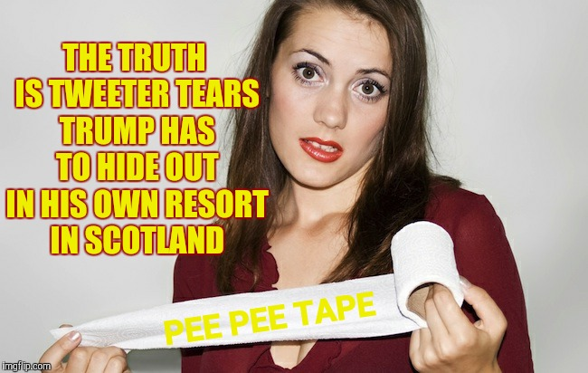 Butthurt bad?,,, | THE TRUTH IS TWEETER TEARS TRUMP HAS TO HIDE OUT IN HIS OWN RESORT IN SCOTLAND PEE PEE TAPE | image tagged in butthurt bad?   | made w/ Imgflip meme maker