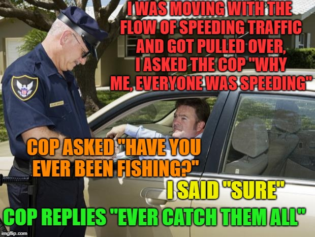"Well played Law Dog,well played | I WAS MOVING WITH THE FLOW OF SPEEDING TRAFFIC AND GOT PULLED OVER, I ASKED THE COP ""WHY ME, EVERYONE WAS SPEEDING"" COP ASKED ""HAVE YOU EVER 