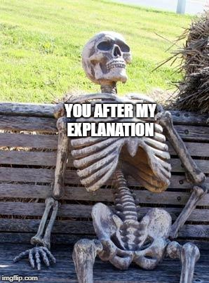 Waiting Skeleton Meme | YOU AFTER MY EXPLANATION | image tagged in memes,waiting skeleton | made w/ Imgflip meme maker