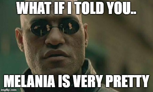 Matrix Morpheus Meme | WHAT IF I TOLD YOU.. MELANIA IS VERY PRETTY | image tagged in memes,matrix morpheus | made w/ Imgflip meme maker