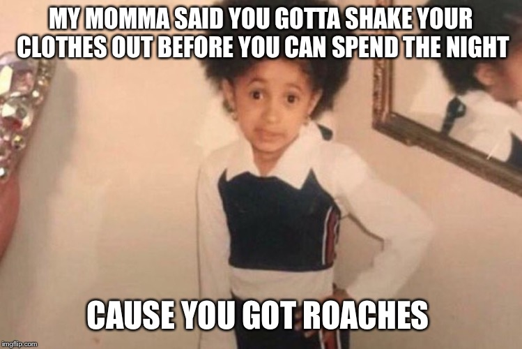 Young Cardi B Meme |  MY MOMMA SAID YOU GOTTA SHAKE YOUR CLOTHES OUT BEFORE YOU CAN SPEND THE NIGHT; CAUSE YOU GOT ROACHES | image tagged in cardi b kid | made w/ Imgflip meme maker