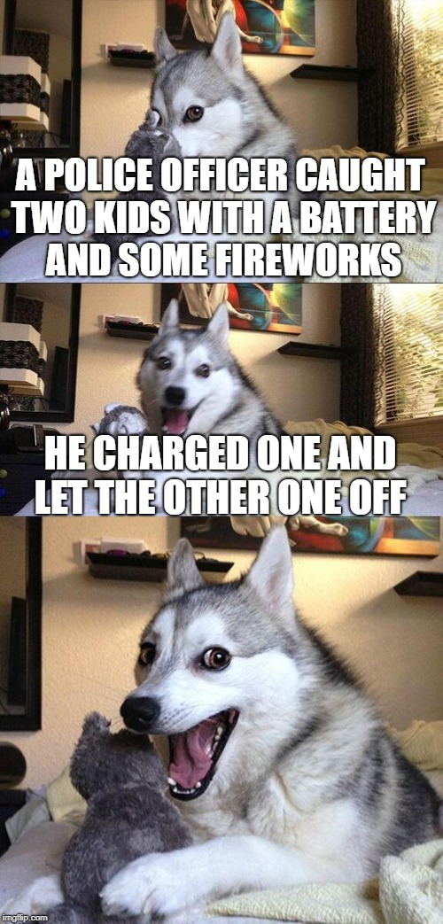 Bad Pun Dog Meme | A POLICE OFFICER CAUGHT TWO KIDS WITH A BATTERY AND SOME FIREWORKS HE CHARGED ONE AND LET THE OTHER ONE OFF | image tagged in memes,bad pun dog | made w/ Imgflip meme maker