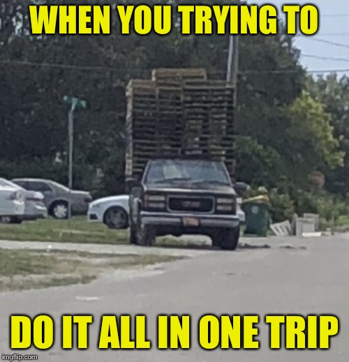 WHEN YOU TRYING TO DO IT ALL IN ONE TRIP | image tagged in nothing gets left behind | made w/ Imgflip meme maker