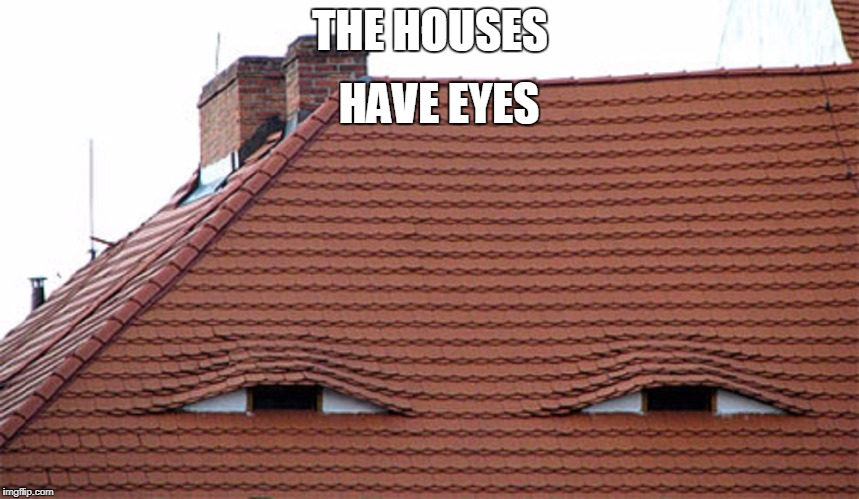 THE HOUSES HAVE EYES | image tagged in the houses have eyes,the hills have eyes,eyes,faces,watching,house | made w/ Imgflip meme maker