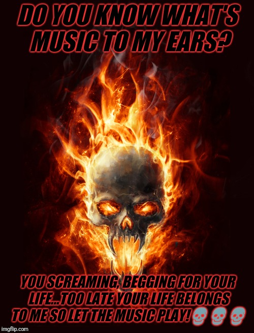 skull | DO YOU KNOW WHAT'S MUSIC TO MY EARS? YOU SCREAMING, BEGGING FOR YOUR LIFE...TOO LATE YOUR LIFE BELONGS TO ME SO LET THE MUSIC PLAY! | image tagged in skull | made w/ Imgflip meme maker