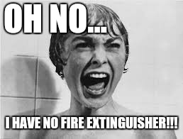 Pyscho | OH NO... I HAVE NO FIRE EXTINGUISHER!!! | image tagged in pyscho | made w/ Imgflip meme maker