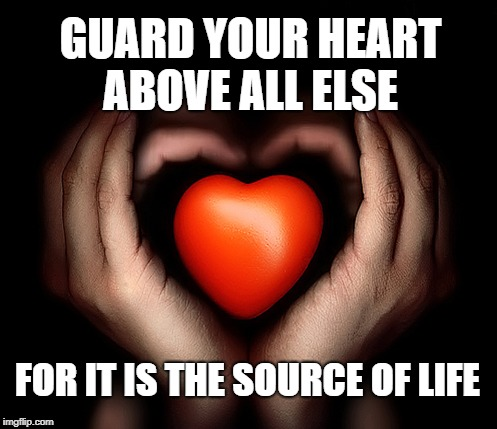 Proverbs 4:23  Your heart is the Source of Your Life Guard It Well | GUARD YOUR HEART ABOVE ALL ELSE FOR IT IS THE SOURCE OF LIFE | image tagged in holy bible,bible verse,holy spirit,bible,verse,heart' | made w/ Imgflip meme maker