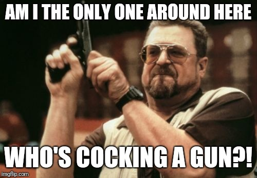 Am I The Only One Around Here Meme | AM I THE ONLY ONE AROUND HERE WHO'S COCKING A GUN?! | image tagged in memes,am i the only one around here | made w/ Imgflip meme maker