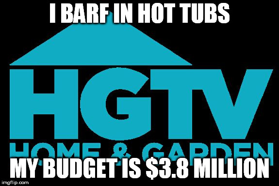 I BARF IN HOT TUBS MY BUDGET IS $3.8 MILLION | image tagged in hgtv logo | made w/ Imgflip meme maker