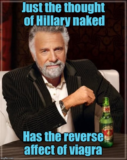 The Most Interesting Man In The World Meme | Just the thought of Hillary naked Has the reverse affect of viagra | image tagged in memes,the most interesting man in the world | made w/ Imgflip meme maker
