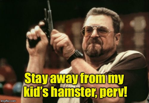 Am I The Only One Around Here Meme | Stay away from my kid's hamster, perv! | image tagged in memes,am i the only one around here | made w/ Imgflip meme maker