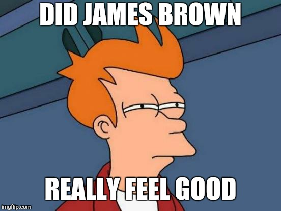 I feel good | DID JAMES BROWN REALLY FEEL GOOD | image tagged in memes,futurama fry,james brown,funny memes,music | made w/ Imgflip meme maker