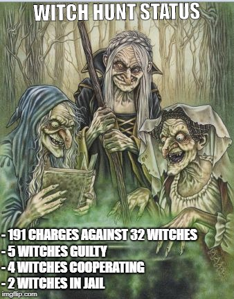 Macbeth Witches | WITCH HUNT STATUS - 191 CHARGES AGAINST 32 WITCHES        - 5 WITCHES GUILTY                      - 4 WITCHES COOPERATING         - 2 WITCHE | image tagged in macbeth witches | made w/ Imgflip meme maker