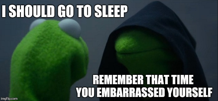 Evil Kermit Meme | I SHOULD GO TO SLEEP REMEMBER THAT TIME YOU EMBARRASSED YOURSELF | image tagged in memes,evil kermit | made w/ Imgflip meme maker