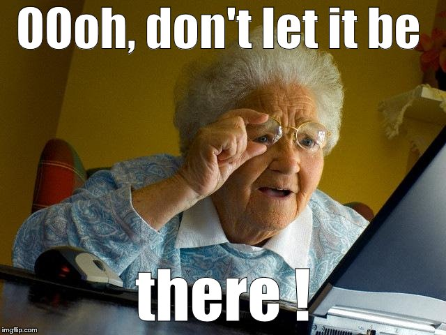 Grandma Finds The Internet Meme | OOoh, don't let it be there ! | image tagged in memes,grandma finds the internet | made w/ Imgflip meme maker