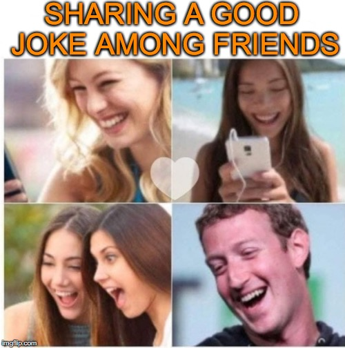 The Joke's On You | SHARING A GOOD JOKE AMONG FRIENDS | image tagged in fb,message,mark zuckerberg,privacy | made w/ Imgflip meme maker