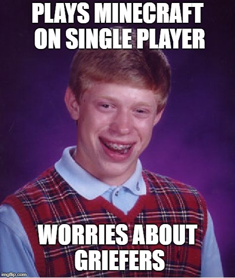 Bad Luck Brian Meme | PLAYS MINECRAFT ON SINGLE PLAYER WORRIES ABOUT GRIEFERS | image tagged in memes,bad luck brian,minecraft | made w/ Imgflip meme maker
