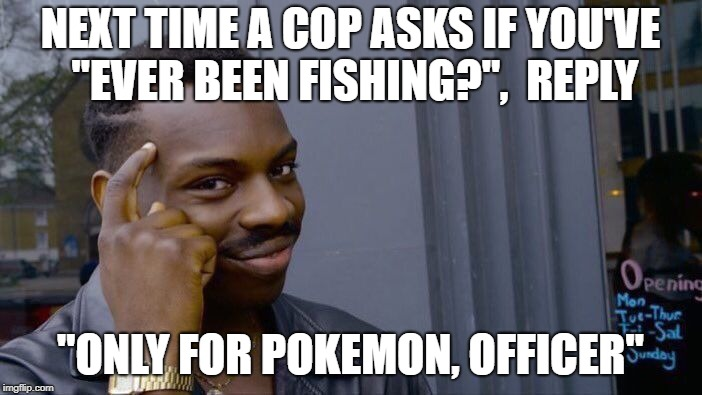 "Roll Safe Think About It Meme | NEXT TIME A COP ASKS IF YOU'VE ""EVER BEEN FISHING?"",  REPLY ""ONLY FOR POKEMON, OFFICER"" 