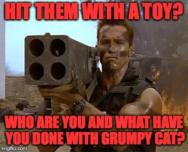 arnold schwarzenegger commando | HIT THEM WITH A TOY? WHO ARE YOU AND WHAT HAVE YOU DONE WITH GRUMPY CAT? | image tagged in arnold schwarzenegger commando | made w/ Imgflip meme maker