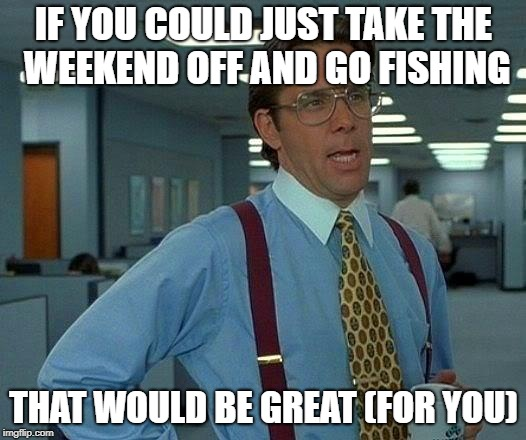 That Would Be Great Meme | IF YOU COULD JUST TAKE THE WEEKEND OFF AND GO FISHING THAT WOULD BE GREAT (FOR YOU) | image tagged in memes,that would be great | made w/ Imgflip meme maker