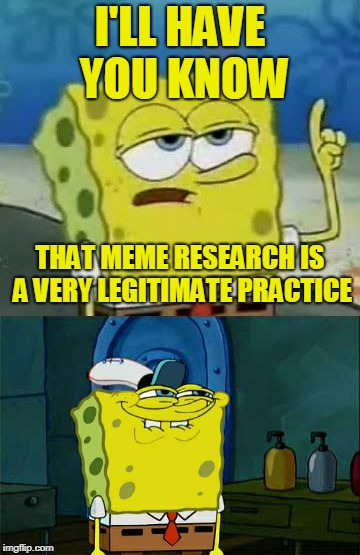 I'LL HAVE YOU KNOW THAT MEME RESEARCH IS A VERY LEGITIMATE PRACTICE | made w/ Imgflip meme maker