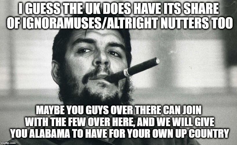 Che | I GUESS THE UK DOES HAVE ITS SHARE OF IGNORAMUSES/ALTRIGHT NUTTERS TOO MAYBE YOU GUYS OVER THERE CAN JOIN WITH THE FEW OVER HERE, AND WE WIL | image tagged in che | made w/ Imgflip meme maker