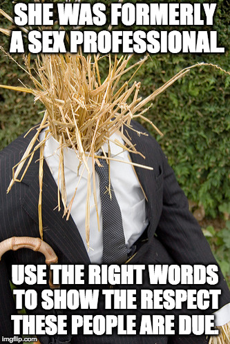 Straw Man | SHE WAS FORMERLY A SEX PROFESSIONAL. USE THE RIGHT WORDS TO SHOW THE RESPECT THESE PEOPLE ARE DUE. | image tagged in straw man | made w/ Imgflip meme maker